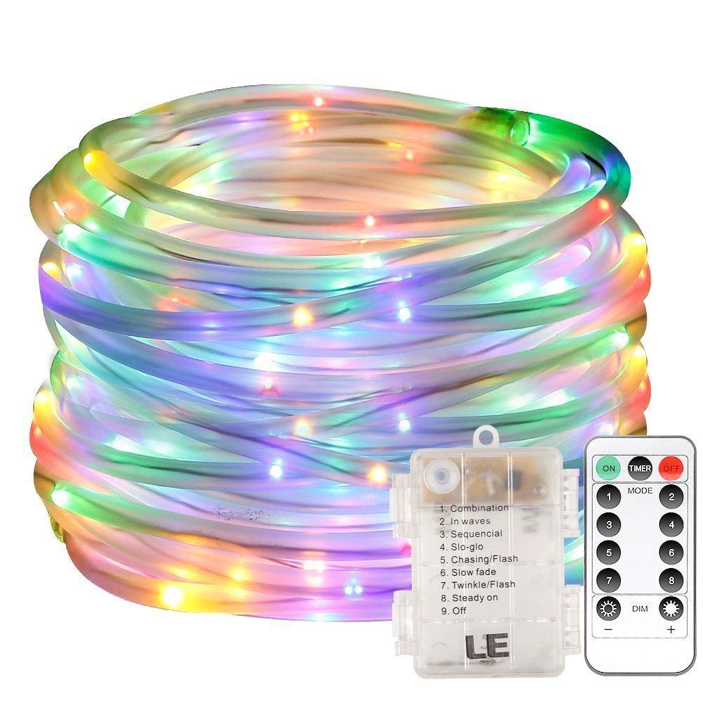 Сказочные светодиодные веревочные фонари с батарейным питанием 33-футовые 8-футовые режимы Фея Водонепроницаемый светящиеся светлячки с дистанционным таймером для наружного внутреннего сада
