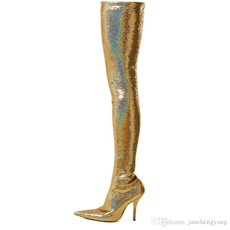 2018 new style pointed toe over the knee stretch boots silver genuine leather sexy sequin boots gold thigh high boots for women