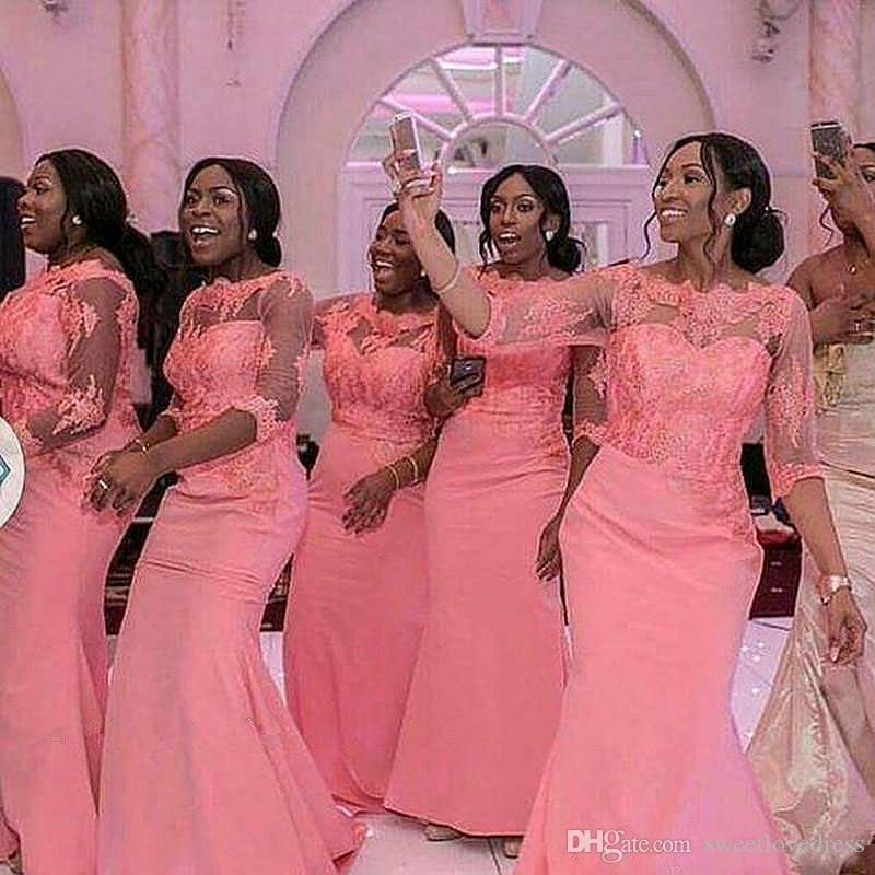 2019 Gorgeous blush pink Mermaid african Plus Size Bridesmaid Dresses long sleeves Wedding Guest Dress vintage lace Cheap formal Prom gowns