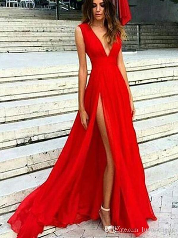 c980d31ca Lado sexy Ranura Cuello en V bajo Una línea Vestidos largos de noche  Glamorosa Gasa roja