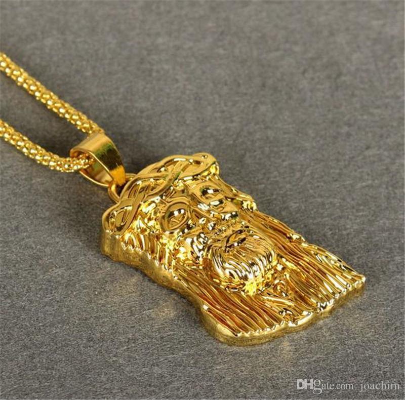 Hombres Joyería Chapado en oro DIOS BENDIGA Jesús Retrato Collar Collar de los hombres, Largo 75CM Hip Hop HIPHOP mens Collar Regalos de Navidad KKA186