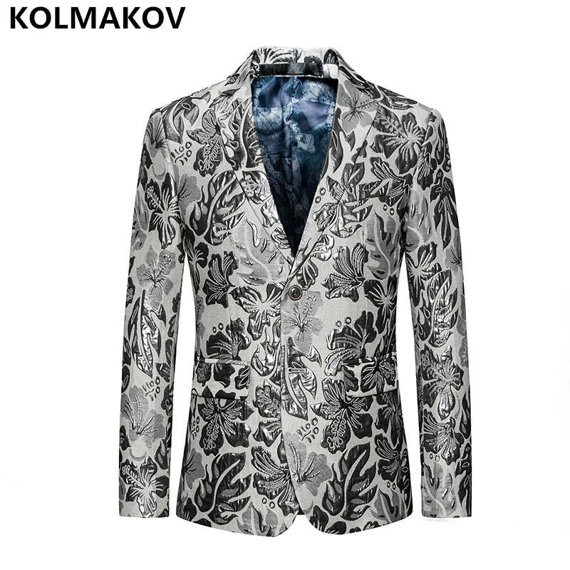 Costumes pour hommes Blazers 2021 Arrivée Hommes Impression Casual Slim Fit Robe de bal Blazer Manteaux Vestes de mode pour hommes pleine taille M-6XL