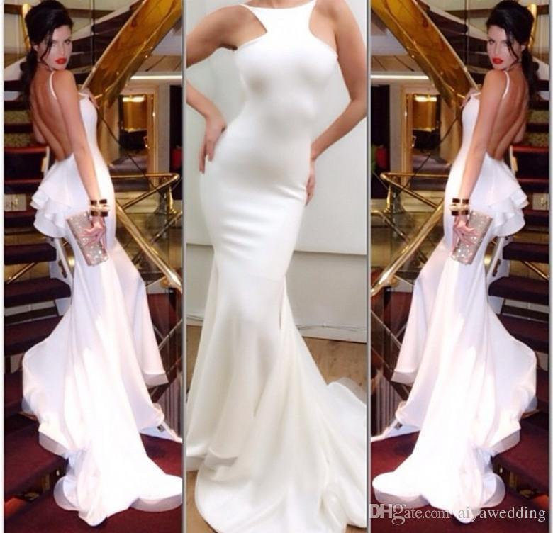 Free Fast Shipping Mermaid Michael Costello Sexy Evening Gown Halter Backless Chapel Train Ruffles Prom Dress White Chiffon Prom Gowns