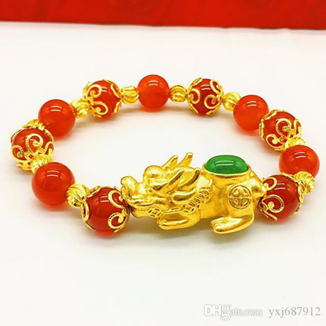 New product natural crystal red beads bracelet and green pixiu pendant bracelet jewelry wholesale