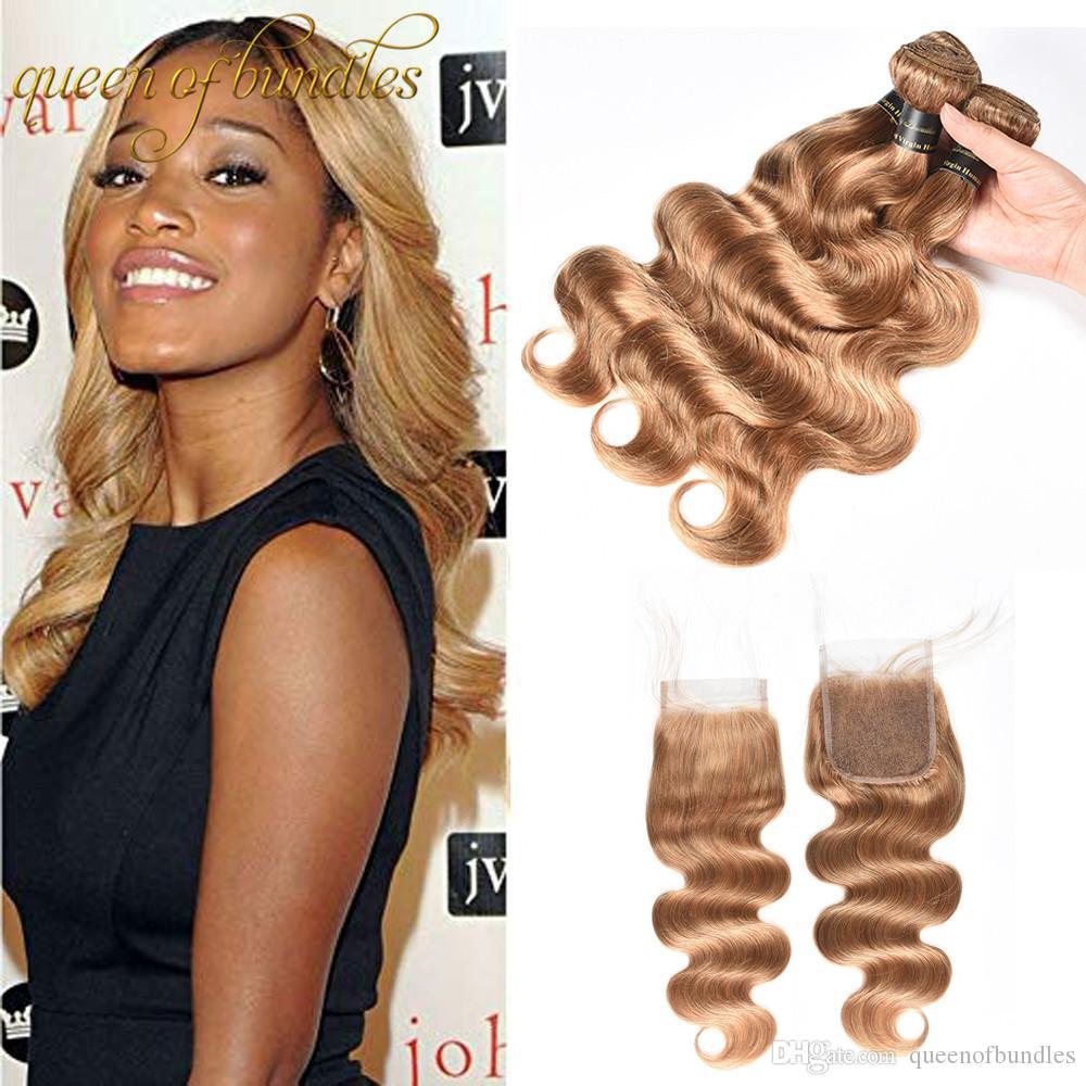 9А мед блондинка бразильский волна тела наращивание волос с закрытием бразильские девственные волосы #27 блондинка пучки волос с кружевами закрытия свободной части