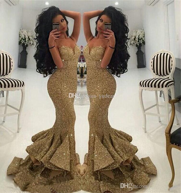 2019 Nova Chegada Spaghetti Straps Sexy Mulheres Vestidos de Baile Querida Sereia Frente Vestidos de Noite Lantejoulas Rendas Formal Vestidos de Festa
