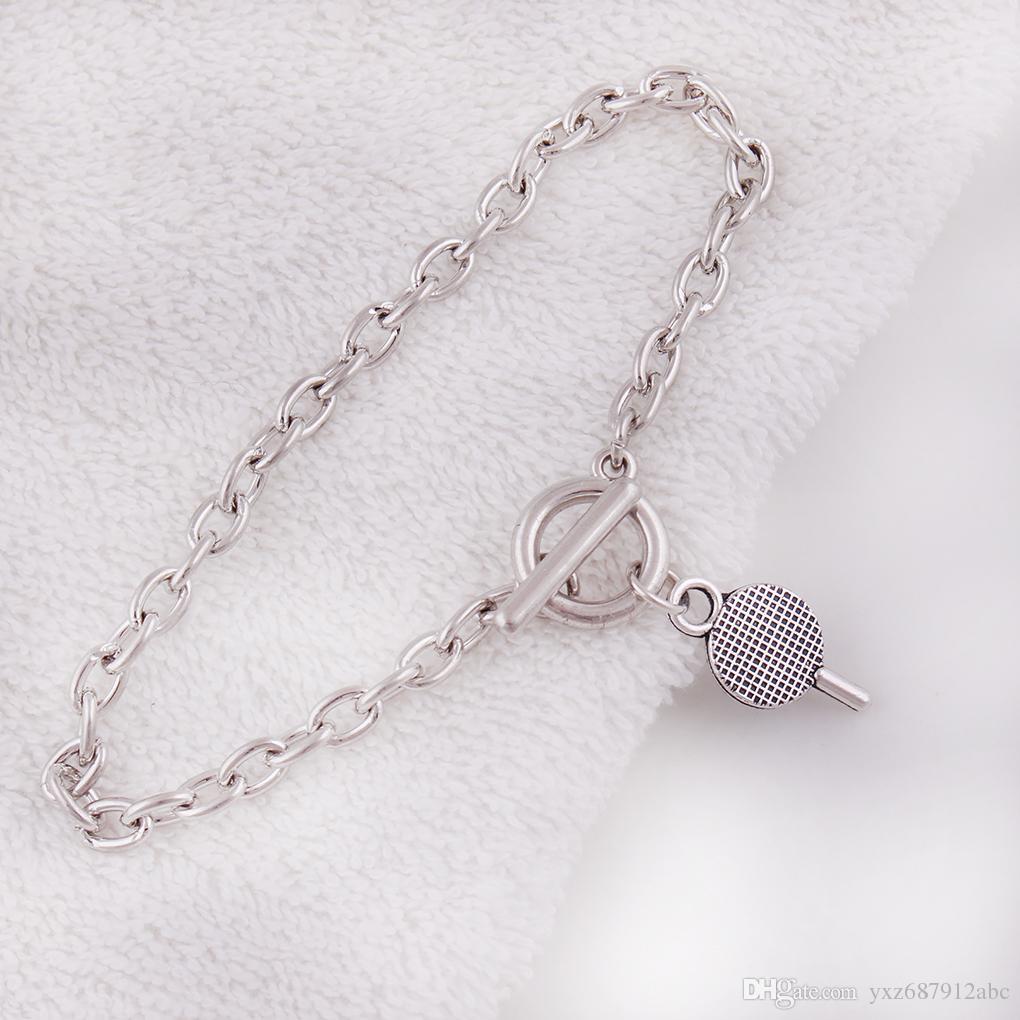 Hot Unique Design Retro Silver Table Tennis Bats Charm Pendent Special Link Chain Bracelet Fashion Jewelry Friendship Gift