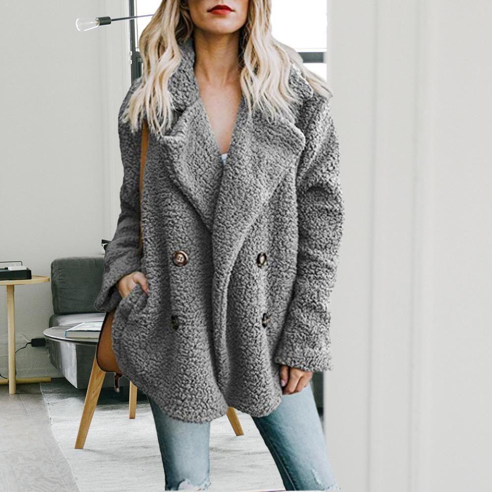 Womens Winter Button Fluffy Jacket Cardigans Ladies Warm Jumper Fleece Fur Coat