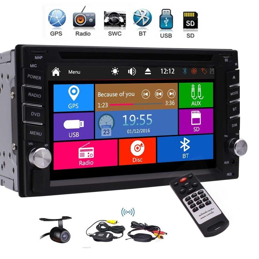 EinCar Double Din Car Stereo GPS de navegación 3 UI 1080P coche DVD reproductor de audio GPS Sat Nav Radio Bluetooth SWC cámara trasera inalámbrica