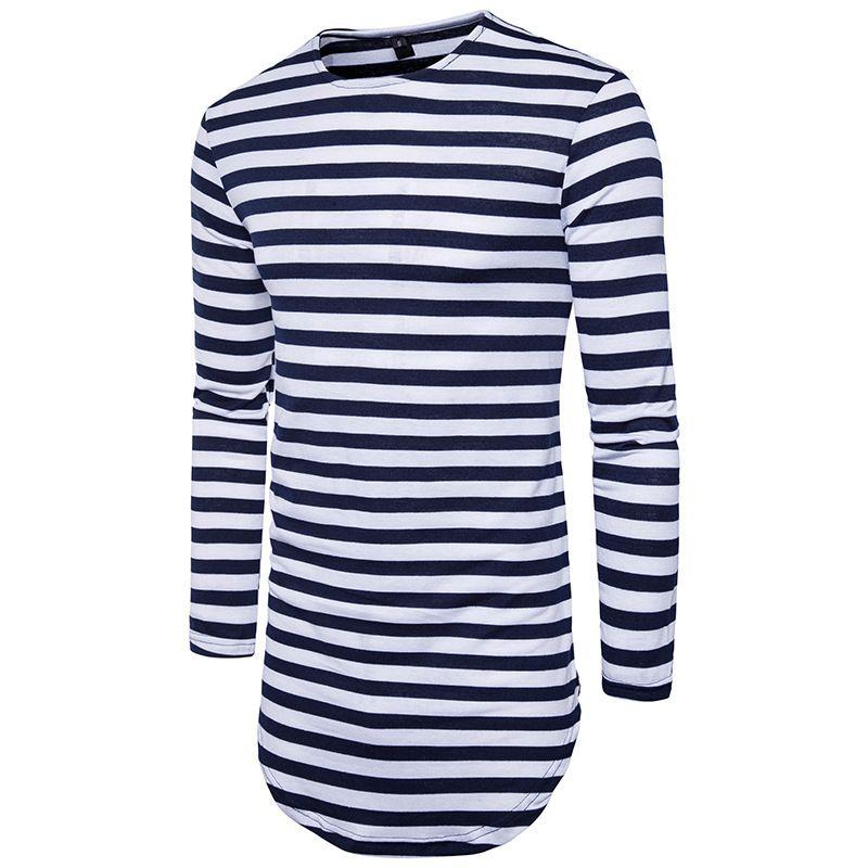 2018 New Erweiterte Sommer-T-Shirt Longline Hip Hop T-Shirts Langarm-Herren T-Shirt Schwarz S-2XL