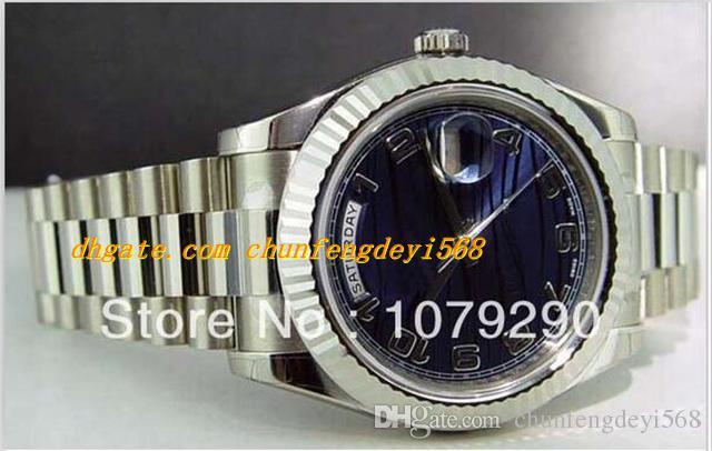 Najwyższej jakości Luksusowy Wristwatch 218239 Blue Arabic Dial Stainless Steel Bransoletka Automatyczne męskie zegarek męskie zegarki