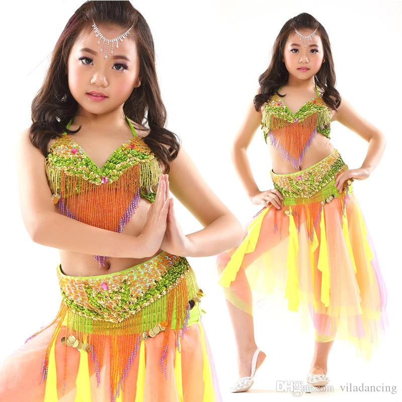 Stage Performance Costume Children Dance Clothes Beaded Outfits Belly Dance Costume Bra Belt Skirt Competition wear set