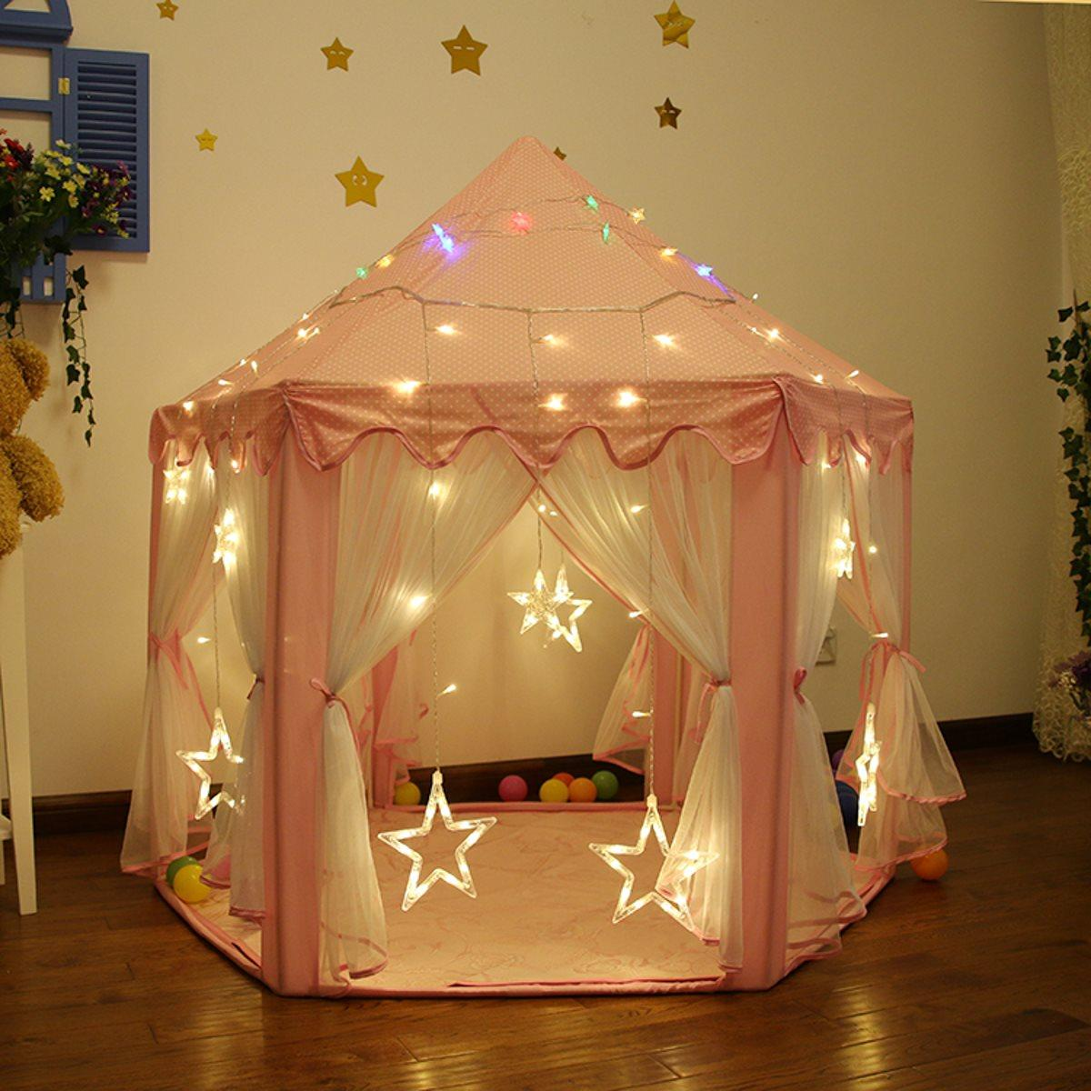 official photos cdee4 6f63b Portable Princess Castle Play Tent With Led Light Children Activity Fairy  House Kids Funny Indoor Outdoor Playhouse Playing Toy Play Tunnel Tent Big  ...