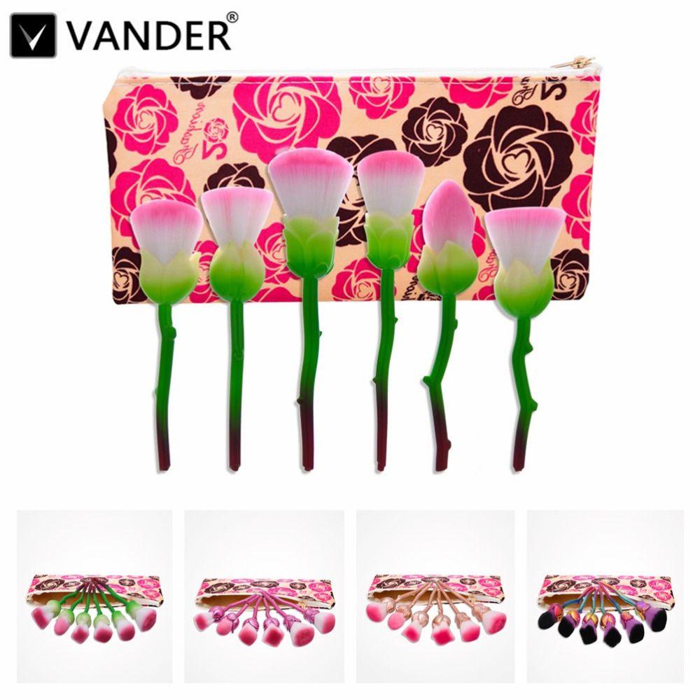 Pro Essentials 6 Pcs Rose Fleur En Forme De Maquillage Pinceaux Poudre Fond De Teint Fard À Paupières Cosmétique Mélange Pincel Maquiagem