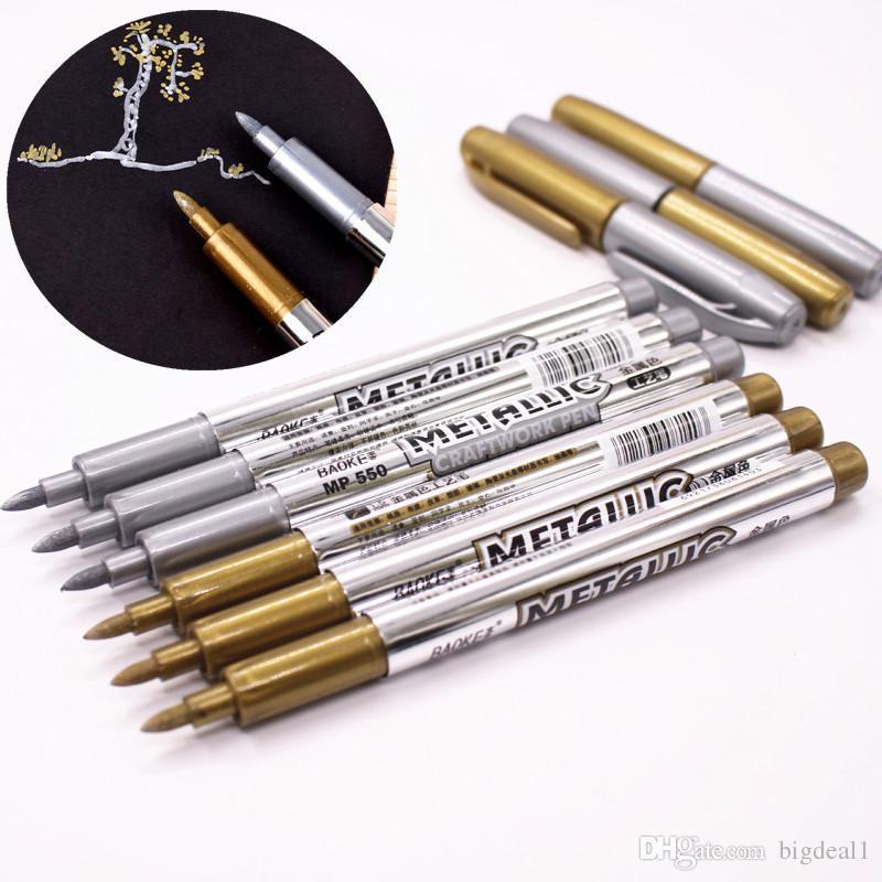 1 unids DIY Metal Impermeable Marcadores Permanentes Rotuladores Sharpie Oro y Plata 1.5mm Suministros para Estudiantes Marcador de Artesanía Pluma