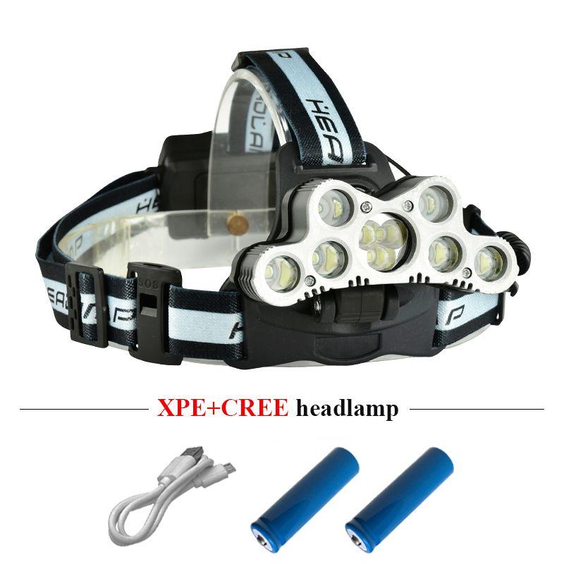 Супер яркий светодиодный налобный фонарь 9 CREE XML T6 светодиодная фара USB аккумуляторная головная лампа 18650 высокой мощности светодиодный фонарик факел головы
