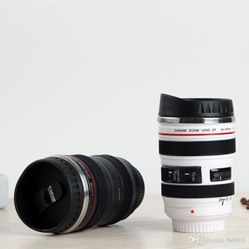Nueva taza de acero inoxidable SLR cámara forma de la lente tazas de café de viaje al aire libre con tapas vaso de alta calidad 14fx BB