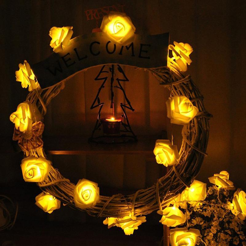 أضواء 1XLED البطارية سلسلة 1 متر 2 متر 3 متر 5 متر 10 متر محاكاة الورود أضواء led سلاسل ضوء عطلة حفل زفاف عيد الميلاد الديكور