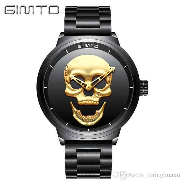 Gimto üst marka büyük kafatası erkekler İzle lüks kuvars kol saati siyah çelik saat cool boy erkek askeri su geçirmez spor saatler