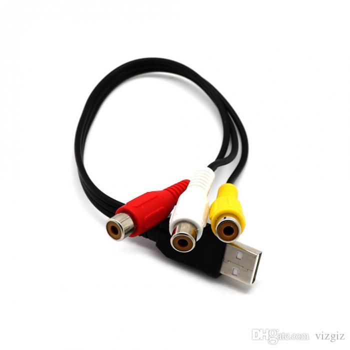 2 Pieces USB Male to 3 RCA Female Video Converter Cable HDTV TV