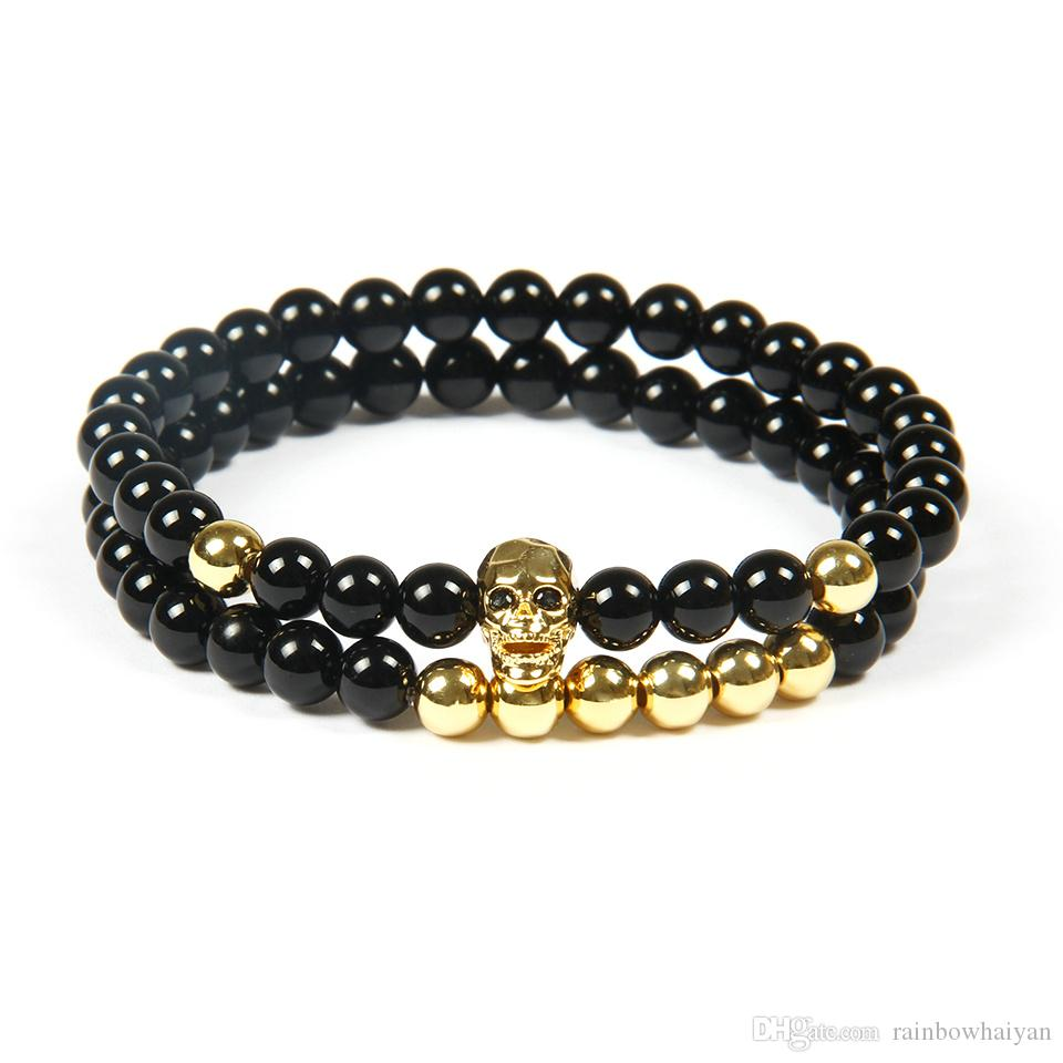 Hot Sale Jewelry Wholesale 10 Sets /lot 6mm Natural Black Onyx Stone beads Top Quality Black Cz Skull Beaded Bracelets