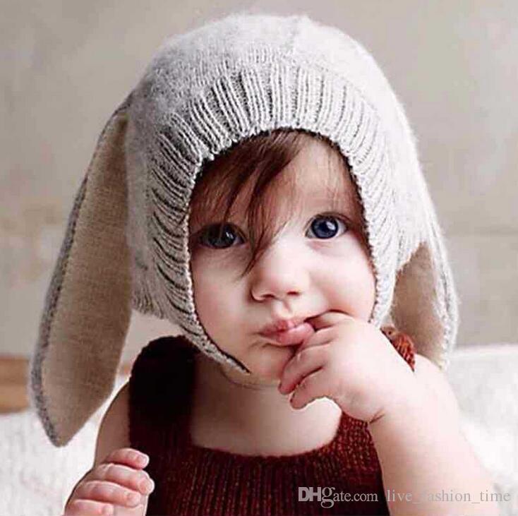 Tavşan Kulaklar Bebek Şapka Yumuşak Kalın Sıcak Şapkalar Sevimli Yürümeye Başlayan Çocuklar Örme Yün Bunny Kış Beanie Bebek 0-3Y Yenidoğan Fotoğraf Sahne için Caps