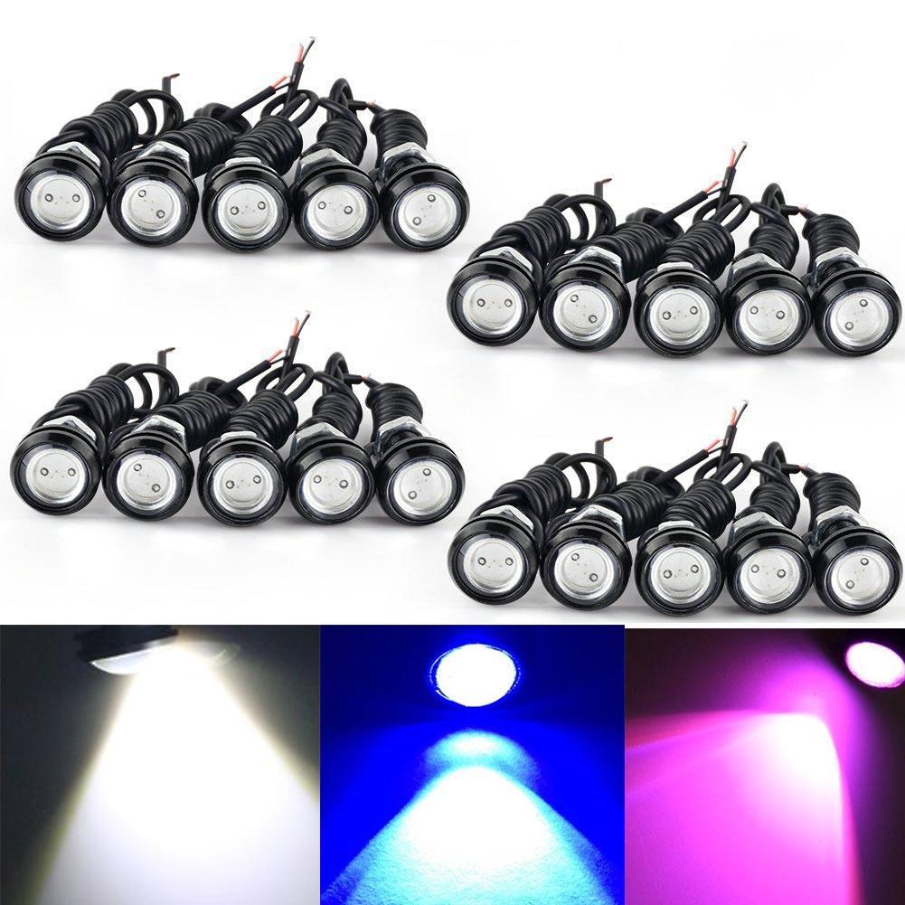 9W LED عين النسر 18MM الوفير DRL الضباب الخفيف دراجة نارية ضوء النهار تشغيل DRL الذيل ضوء النسخ الاحتياطي