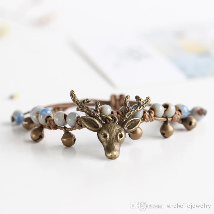 2018 nuovi arrivi braccialetti originali per le donne cervi modello 6 pezzi etnici bracciali in ceramica fatti a mano con gioielli campana all'ingrosso