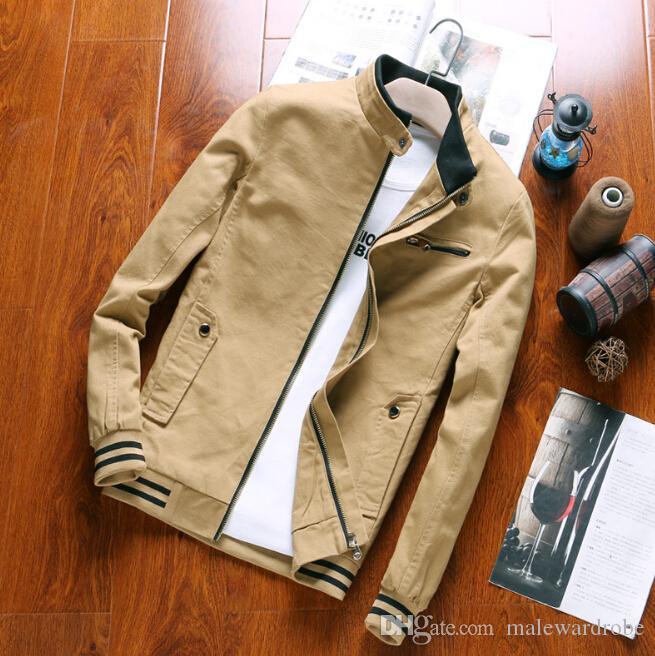 Мужчины Стоят Воротник Куртки Осень-Весна Slim Fit Мода Молния Куртки Пальто