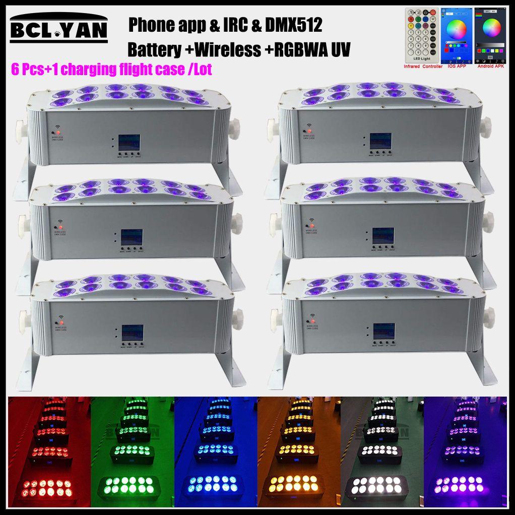 WIFI APP wireless remote DMX control LED par RGBWA+UV Uplightings 12*18W New Battery Powered Wireless DMX Led wall washer