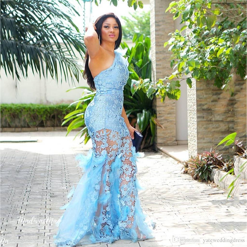 Gökyüzü Mavi Bir Omuz Balo Abiye Ile Dantel Aplike Mermaid Stil Abiye Kat-Uzunluk Custom Made Örgün Parti kıyafeti Ucuz