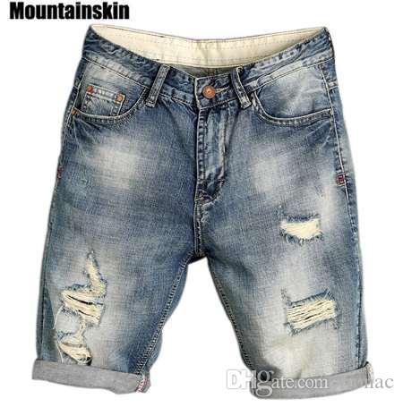 Mountainskin Лето Мужская Jogger рваные джинсовые шорты Hole Pop Мужской Jeans Уличная Тонкий мужской моды джинсы SA169