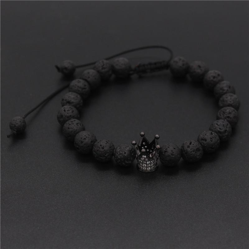 89a32bbc1e 2019 Poahfeel His And Hers Bracelets 8Mm Black Matte & White Beads Cz Crown  King Couple Bracelet Lovers Jewelry Pulsera Mbr170420 From Gunot, ...