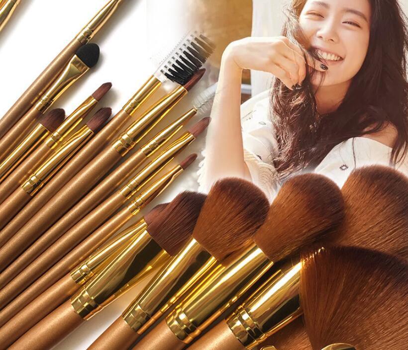 21 Adet / takım Lüks Altın Makyaj Fırçalar Doğal Saç Makyaj Fırça Seti Profesyonel Kozmetik Makyaj Araçları Kitleri Güzellik Kozmetik Fırça