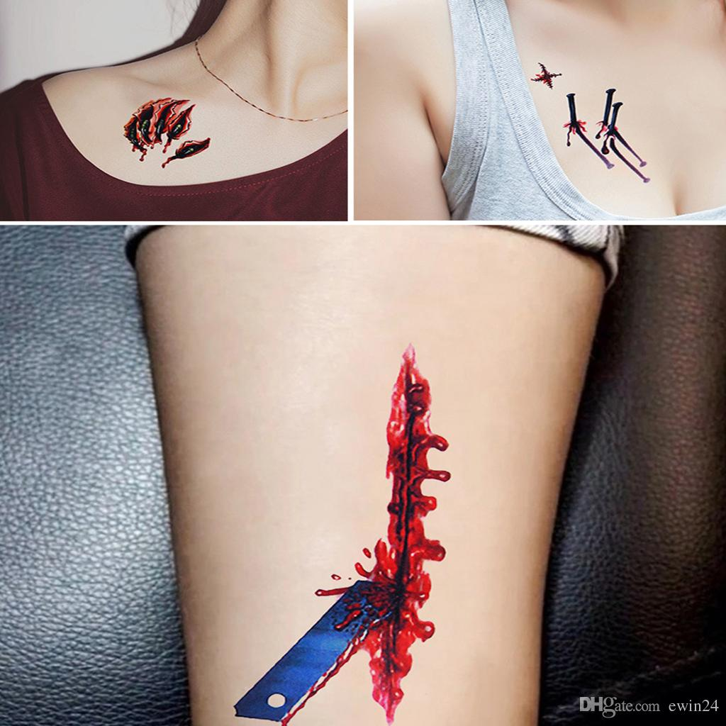 18 Pz Halloween Tatuaggi Temporanei Scratch Wound Scab Blood Scar Tatuaggi Per Halloween Party Zombies Costume Cosplay Impermeabile