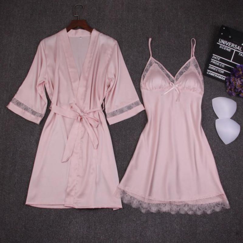 Yaz Kadın Katı 2 ADET Pijama Kadın Kimono Banyo Elbisesi Seksi Ipeksi NightyRobe Ev Giyim Düğün Gelin Nedime Robe Seti
