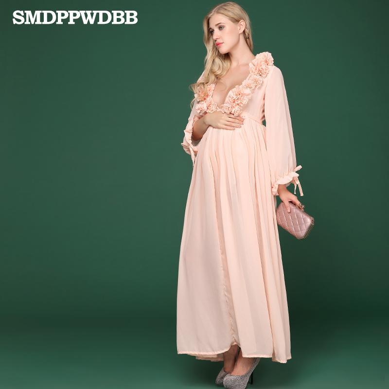 SMDPPWDBB 할로윈 출산 복장 사진 긴 임신 임신 복장 이브닝 드레스 꽃 V - 넥 플러스 사이즈 드레스