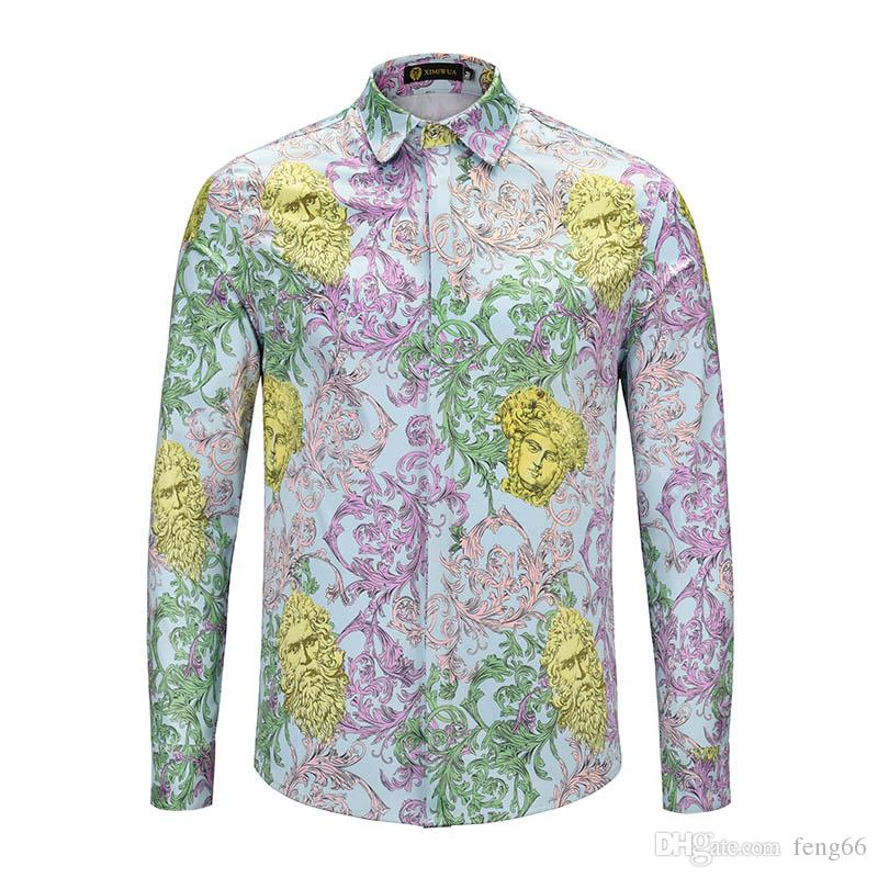 New fashion designer long-sleeved men's dress shirt cotton collar slim men's casual Harajuku shirt Medusa retro shirt.
