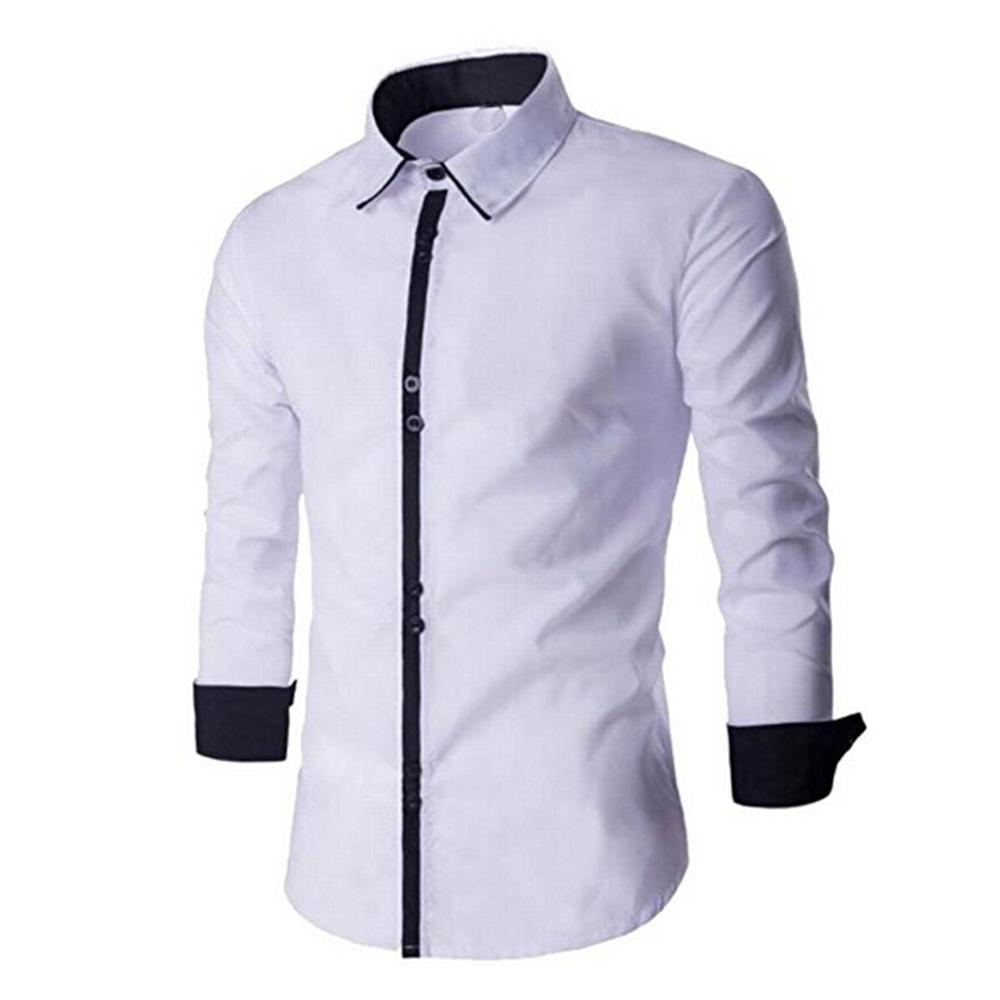 Men's New 2020 Fashion Casual Button Down Long Sleeve Striped-Trim Slim Fit Collared Dress Shirts