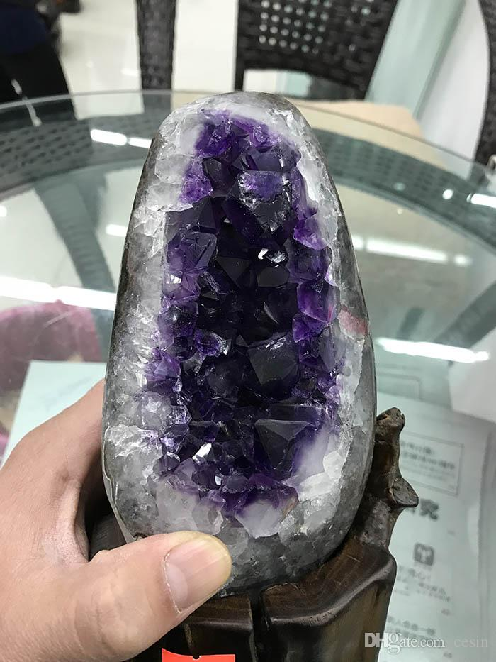 1PCS Uruguayan Natural Amethyst Geode Purple Crystal Amatista Voog Clusters With wood base raw rough stone decoration Shemist Drusy Crafts