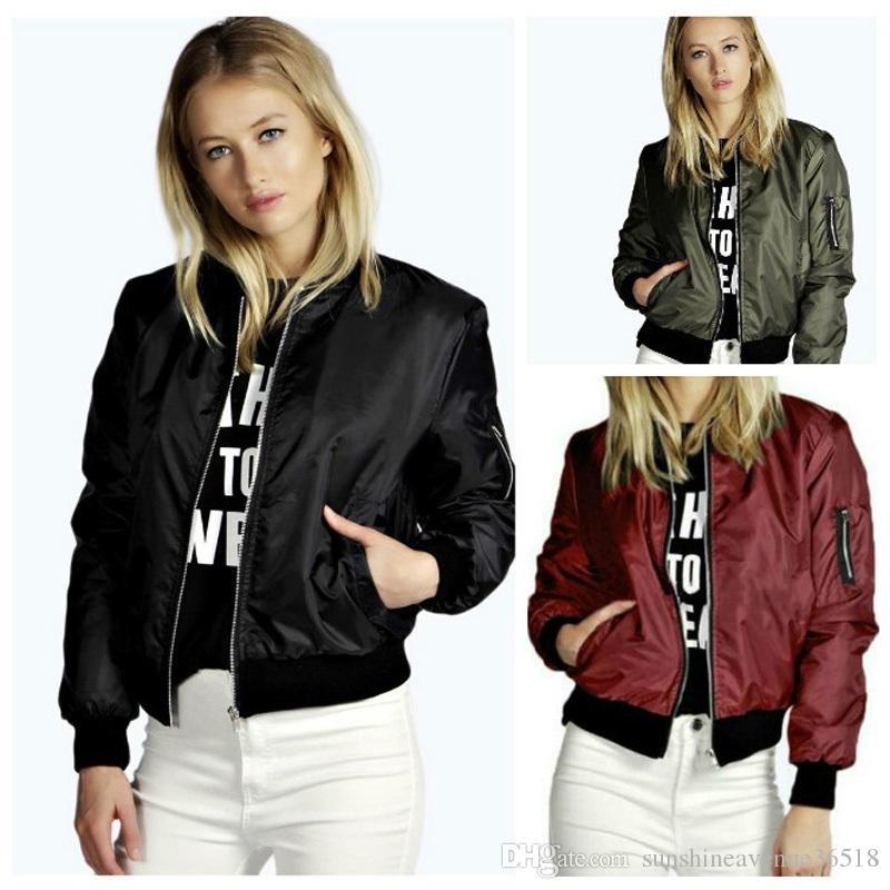 Bahar Bombacı Ceket Kadın Uzun Kollu Temel Coats Bombacı Ceket Rahat Ince Kısa Ceketler Kadın Giyim Jaqueta Feminina