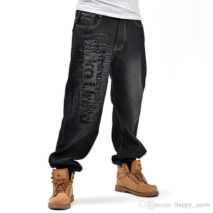 Fashion Jeans da uomo Trend Hiphop Loose Leisure Baggy New Denim Pants Big Size 44 46 Pantaloni lunghi da uomo Hip Hop Bottoms