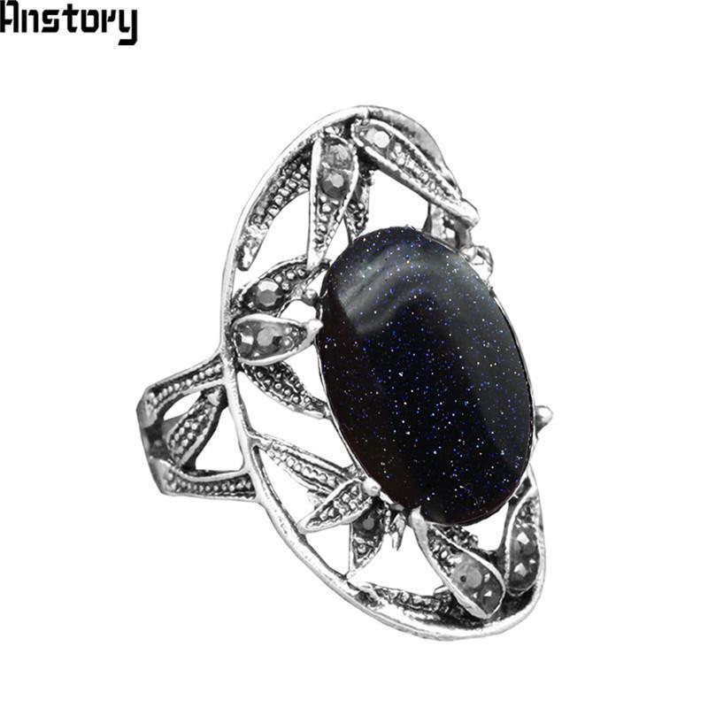 Lantejoulas Azul Escuro Anéis De Pedra Para As Mulheres Projeto Da Flor Do Vintage Antigo Banhado A Prata Jóias de Moda