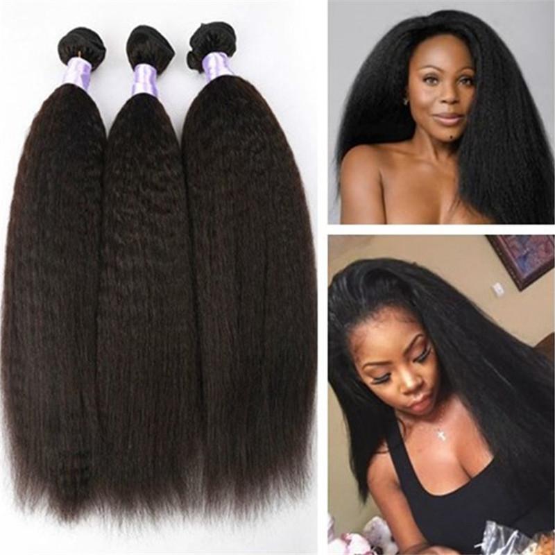 Brezilyalı Insan Bakire Saç Sapıkça Düz Saç Örgüleri Doğal Renk 100g paket Çift Atkılar 3 Demetleri çok Saç Uzantıları