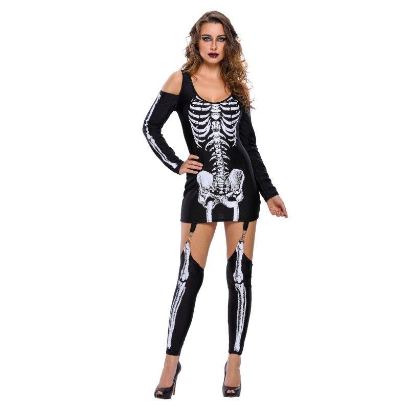 YSMARKET 2017 Signore Punk X-ray Halloween Off-spalla Costumi Scheletro Per Le Donne Cosplay Donne Carnevale Vestito Da Partito V890250