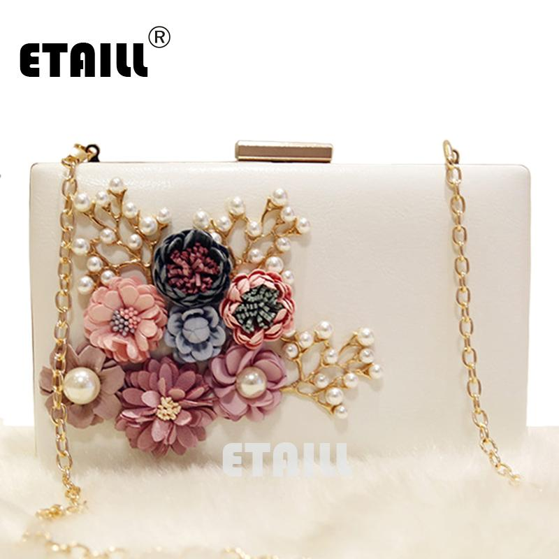 ETAILL Floral Day Clutch Bag White Wedding Bags and Purses for Bride Evening Bag with Gold Chain Square Party Pearl Banquet
