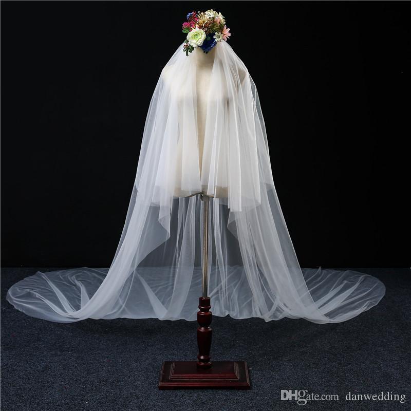 Beauté Blanc 6 mètres de long tulle voiles de mariée de mariée de mariée Headwear nord de mariée accessoires de mariage F714127