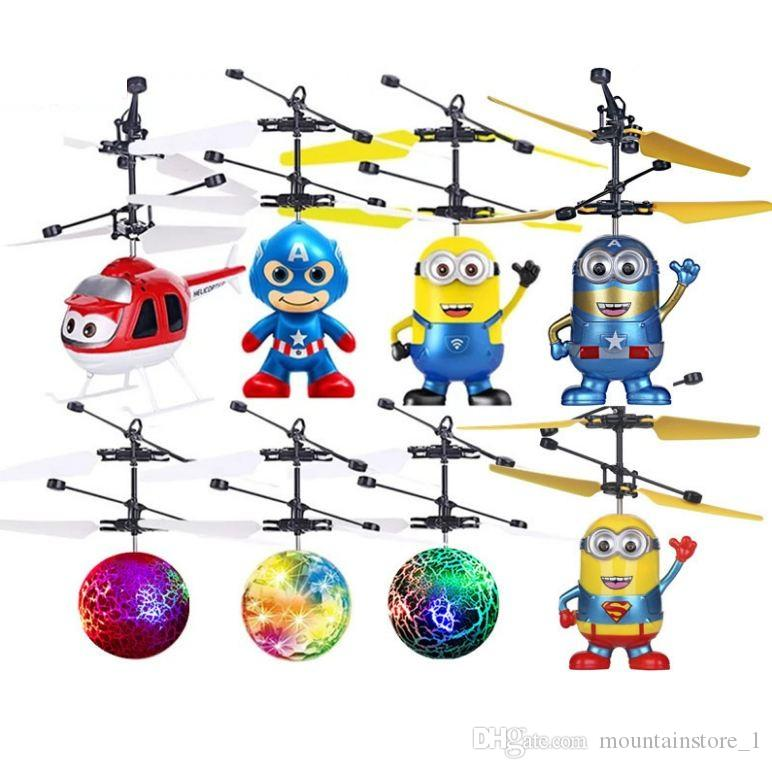 2019 Minion drone RC Helicopter Aircraft Mini drone Fly Flashing helicopter Hand Control RC Toys Minion Quadcopter Dron LED Kids Toys
