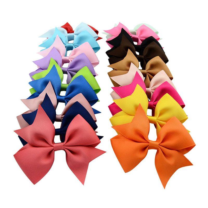 20шт 3,5 «» Grosgrain зажимы ленты луки Аллигатор волос бутика луки Шпильки для девочек Аксессуары для волос HD565