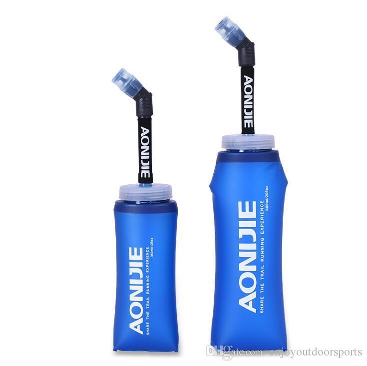 AONIJIE 600 МЛ Мягкий Силиконовый Складная Бутылка Воды Мешок Колбу Мешок Для Воды BPA Бесплатно Складной Спорт На Открытом Воздухе Поставки Езда Бутылка Воды